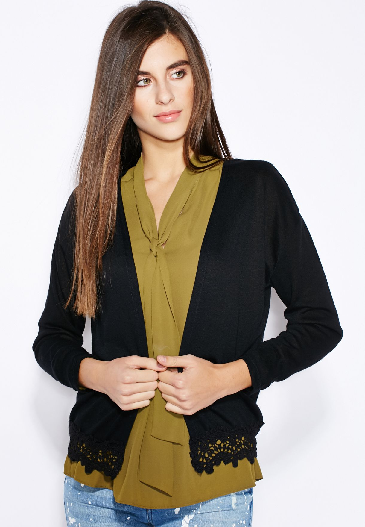 ebc597f0172 Shop Dorothy Perkins black Lace Detail Cardigan 56451610 for Women ...