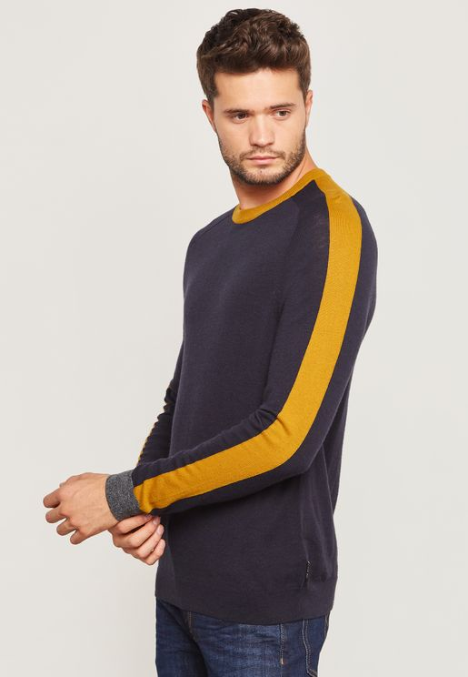 Colour BlockCrew Neck Sweater
