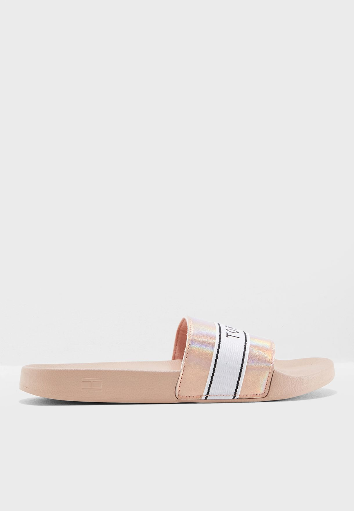 c2b80d01e6dcd Shop Tommy Hilfiger pink Mirror Sparkle Beach Slide FW0FW03038 for ...