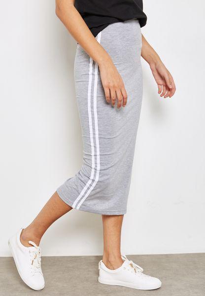 Contrast Striped Side Slit Maxi Skirt