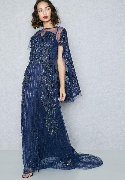 Embellished Sheer Detail Cape Maxi Dress