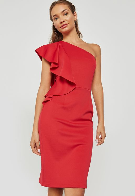 One Shoulder Ruffled Bodycon Dress