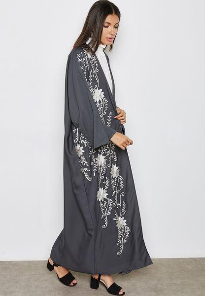 One Side Embroidered Abaya