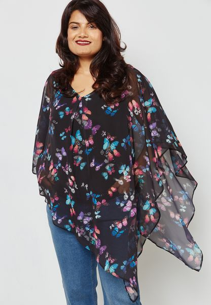 Butterfly Print Overlay Top