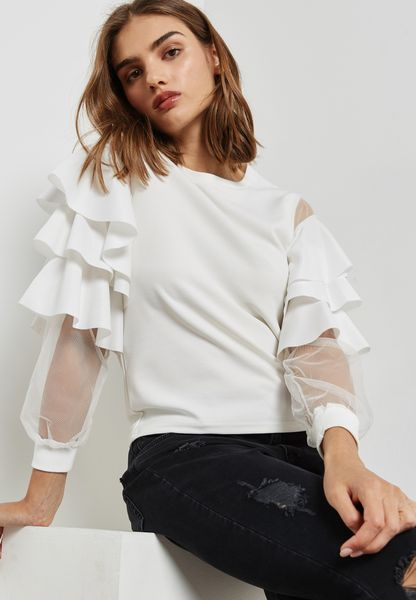 Mesh Insert Tiered Ruffle Sleeve Top