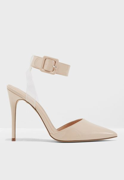 Floating Ankle Open Back Court Heels