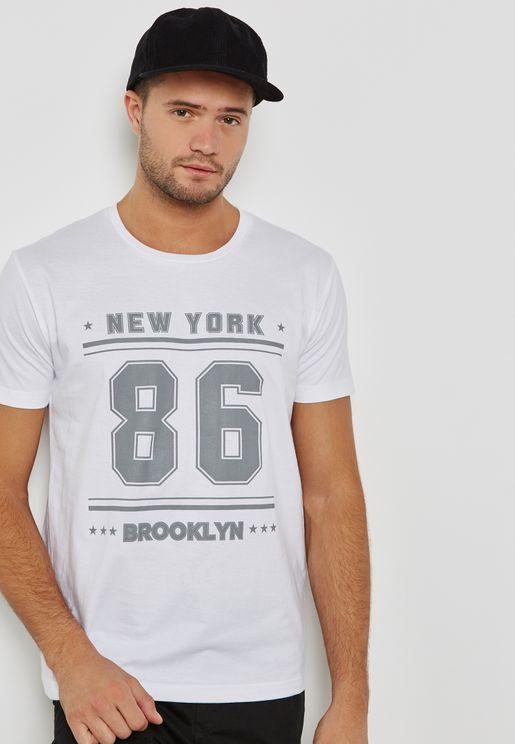 New York 86 Print  Crew Neck T-Shirt