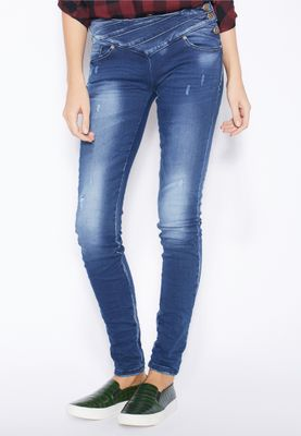 Ginger Side Button Skinny Jeans