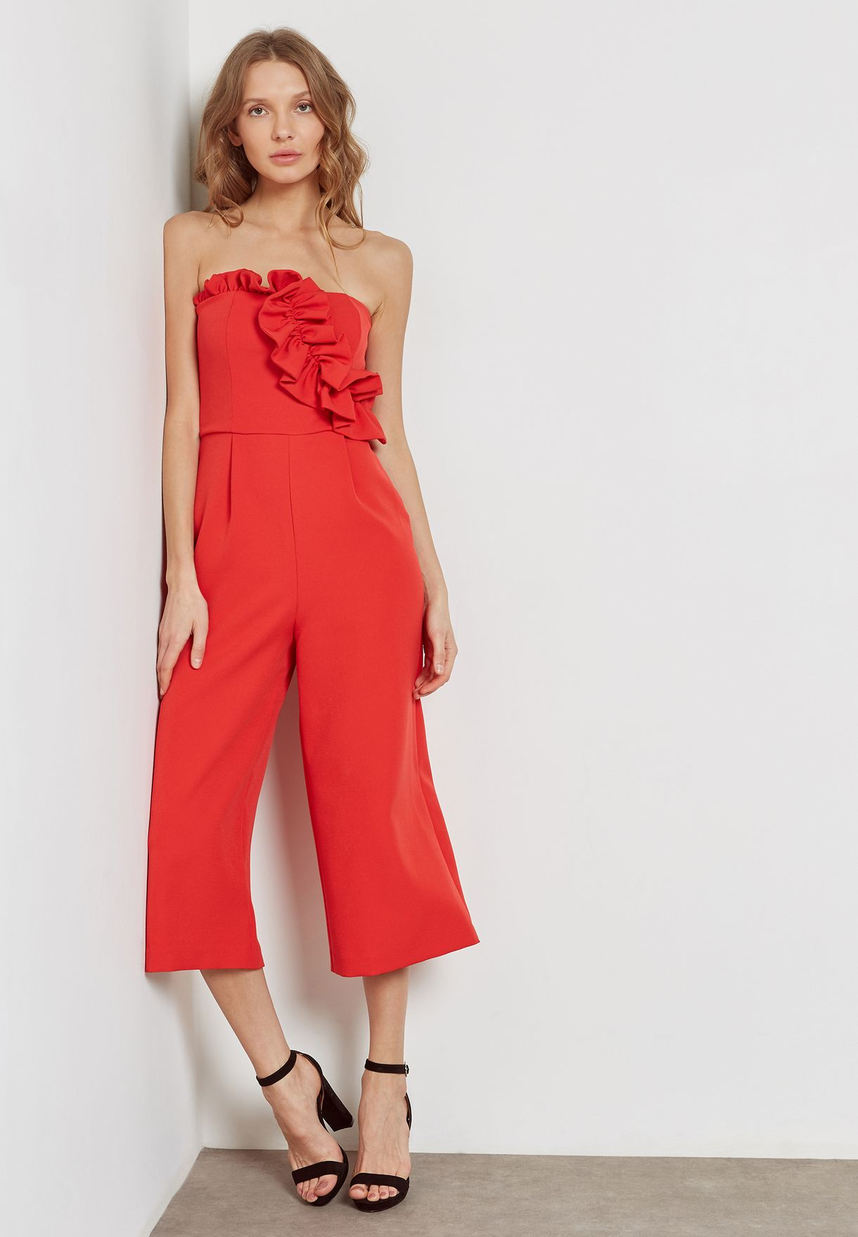3ddddb75b10 Shop Topshop red Bandeau Jumpsuit 36J01NRED for Women in Qatar -  TO856AT70AAJ