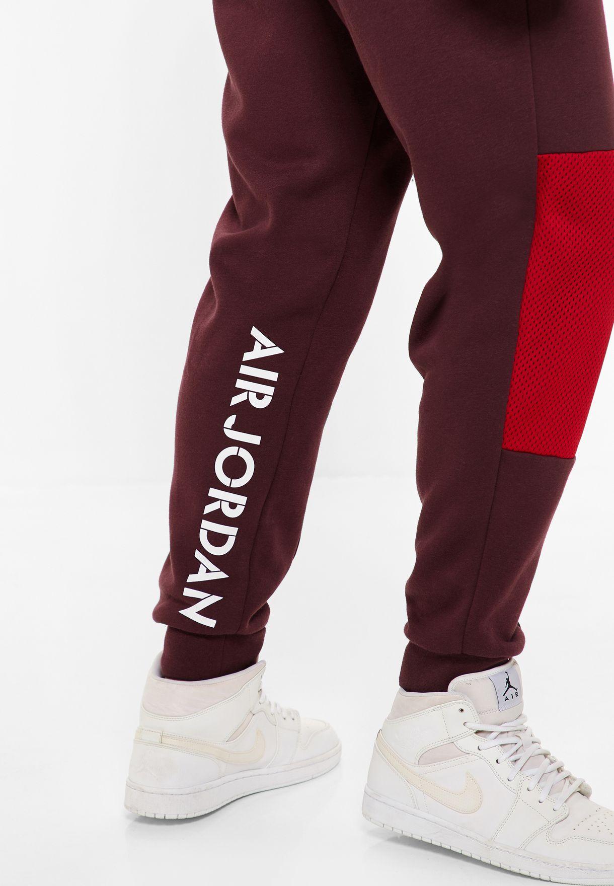 6f660a22190b11 Shop Nike burgundy Jordan Jumpman Hybrid Fleece Sweatpants AA1447 ...