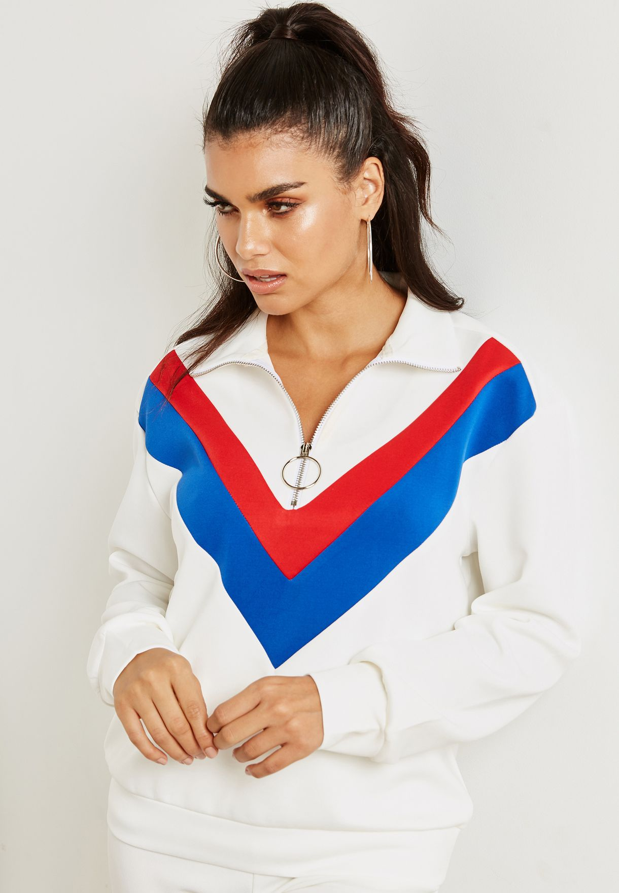 Colourblock Paneled Zip Neck Sweatshirt