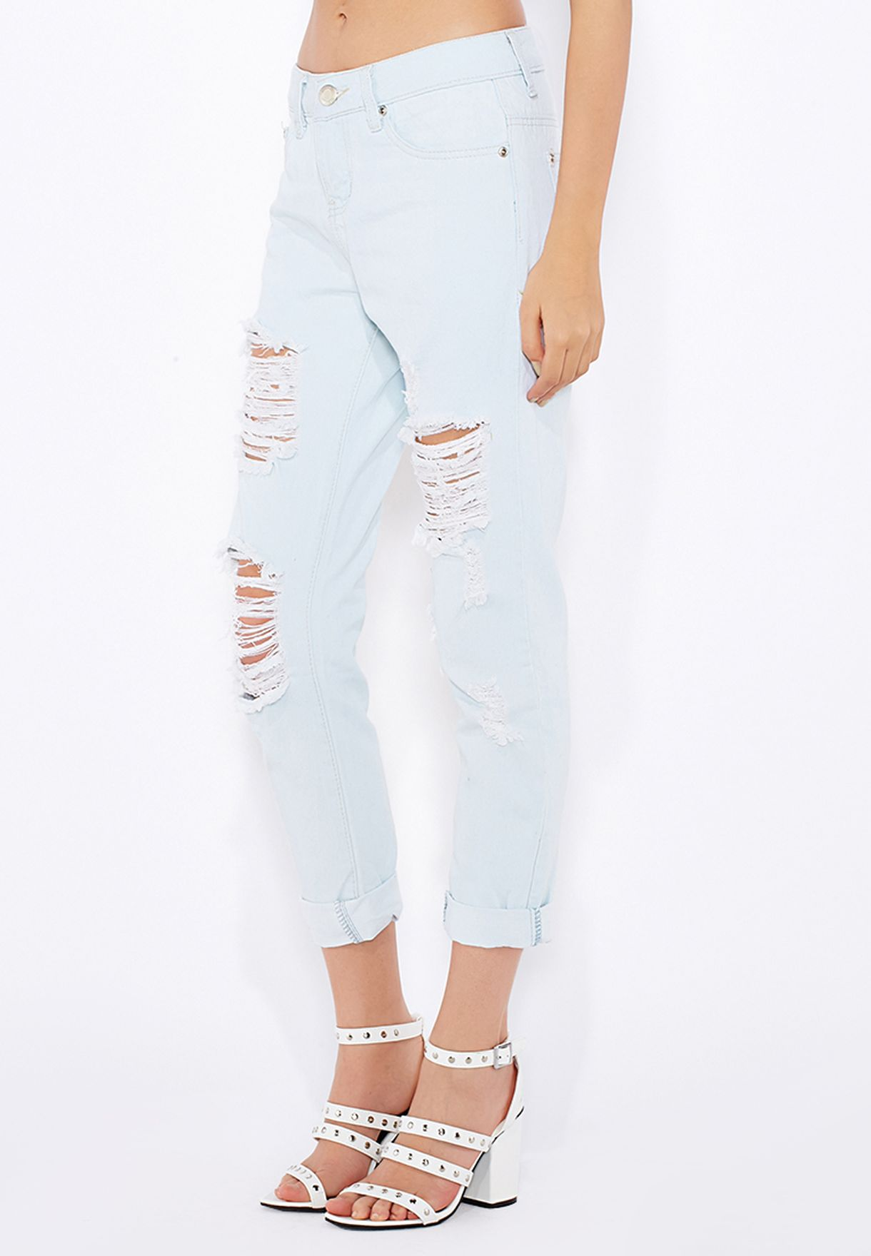 6a52fb4b607 Shop Boohoo blue Ripped Boyfriend Jeans AZZ12910 for Women in Kuwait ...