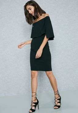 Slit Sleeve Bardot Dress