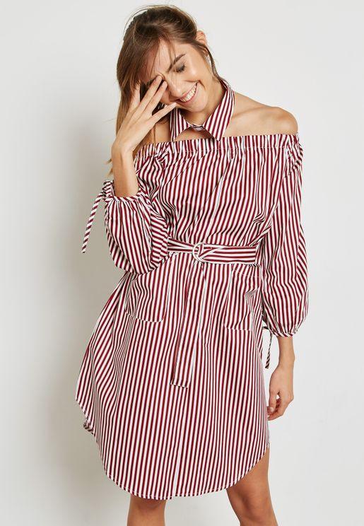 076430938d Striped Cold Shoulder Self Tie Dress