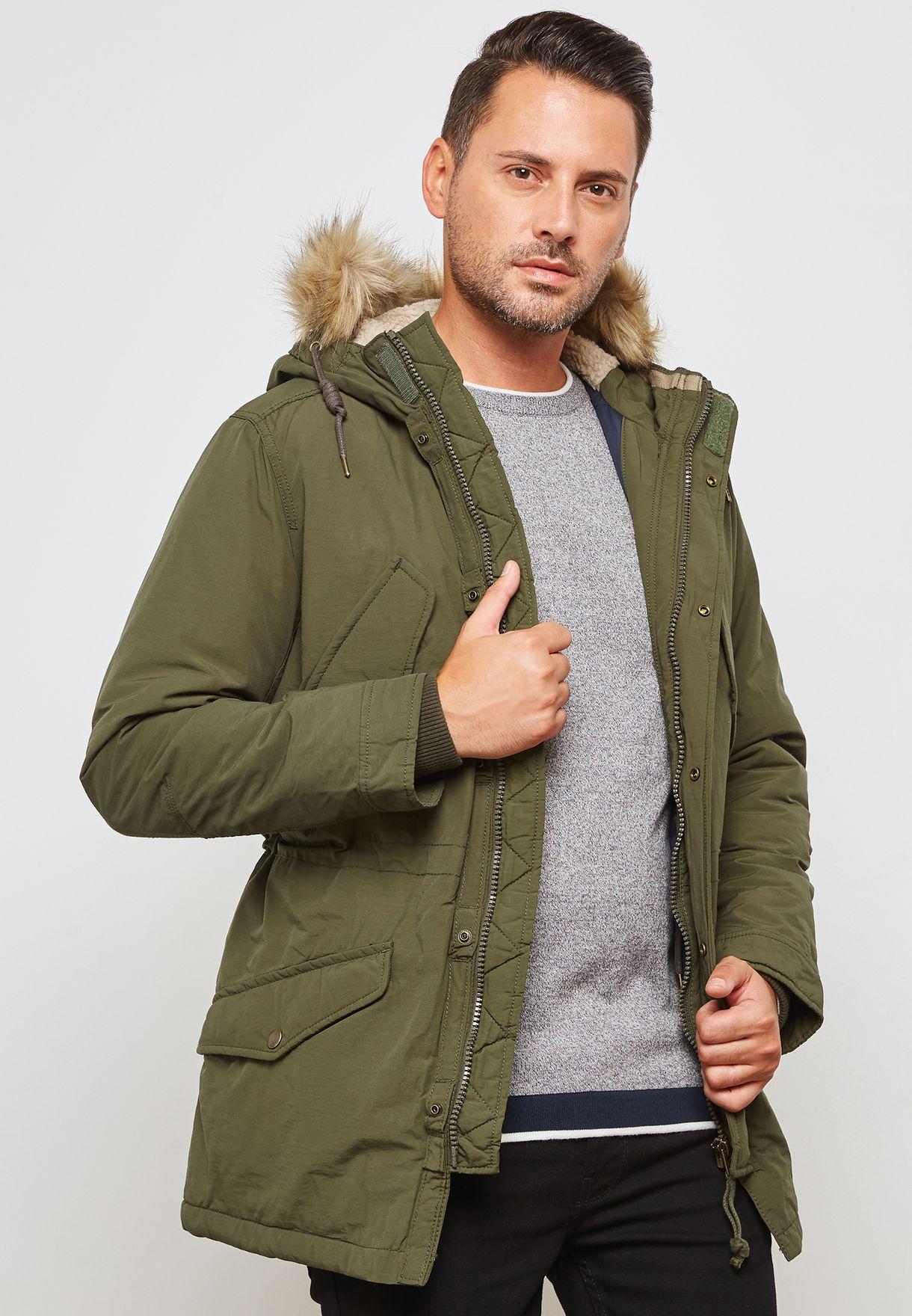 ac5d9463633778 Shop Jack Jones green Arctic Parka Jacket 12138935 for Men in Saudi ...