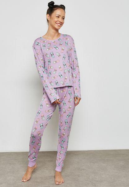 Shower Cat Print Pyjama Set