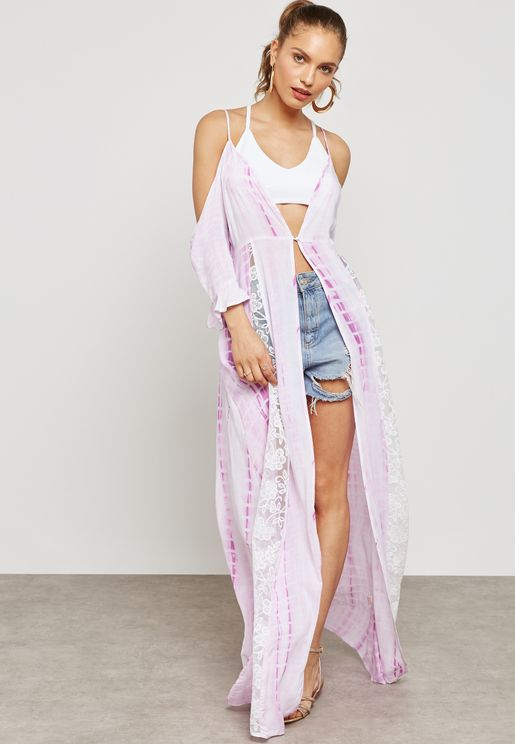 Cold Shoulder Lace Beach Cover Up
