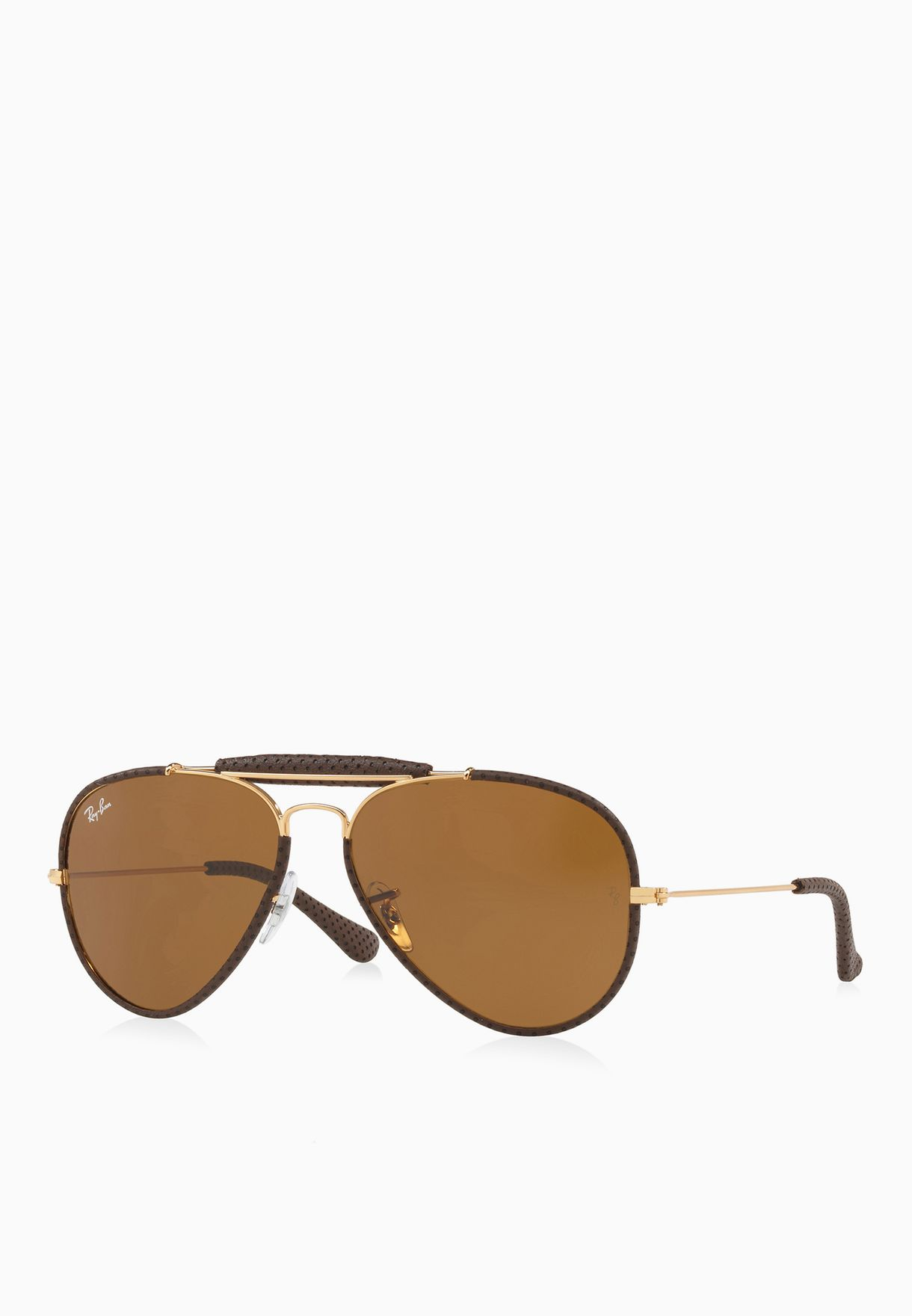 734beee272 Shop Ray-Ban browns Outdoorsman Craft Sunglasses 8053672790290 for ...
