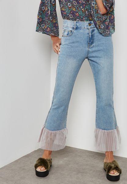 Hem Straight Jeans