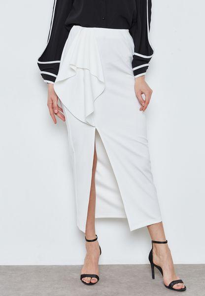 Ruffle Detail Side Slit Maxi Skirt