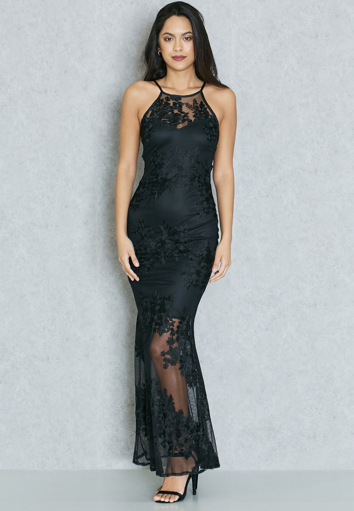 d4bd2949c5 Shop Lipsy black Embroidered Lace Sheer Hem Maxi Dress JD04219 for ...