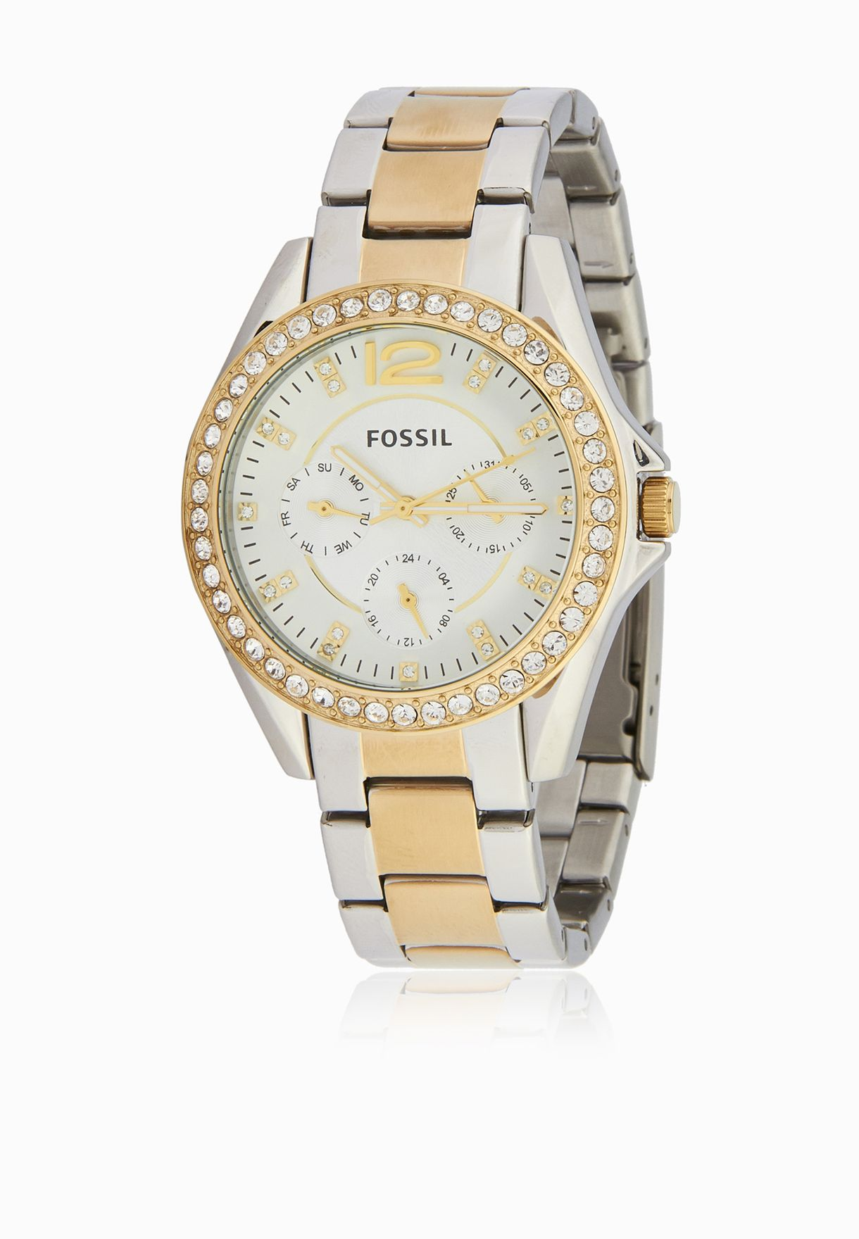 ad247ea73bf Shop Fossil silver Riley Two-Tone Watch ES3204 for Women in Qatar ...