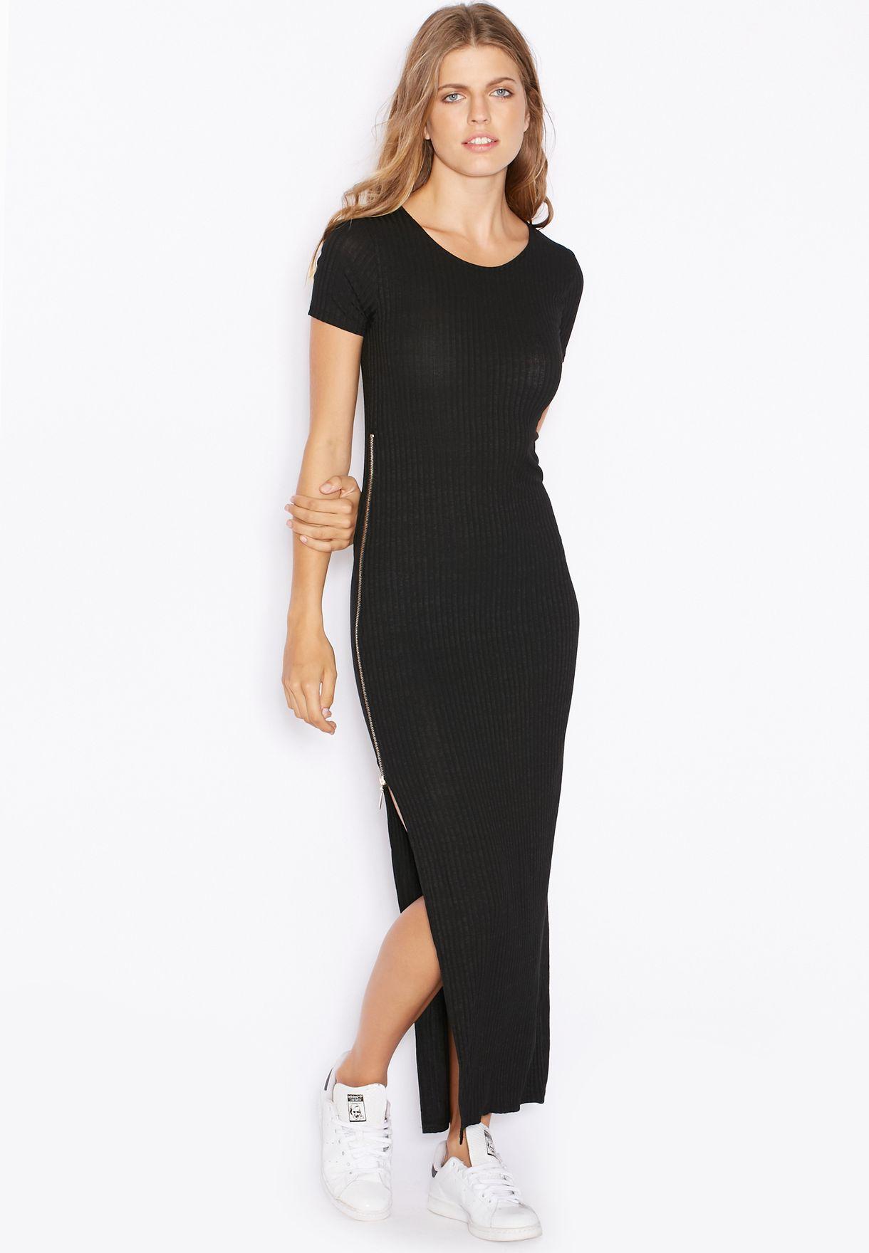 04c0ec9b349 Shop Ginger Basics black Ribbed Side Zip Maxi Dress for Women in ...
