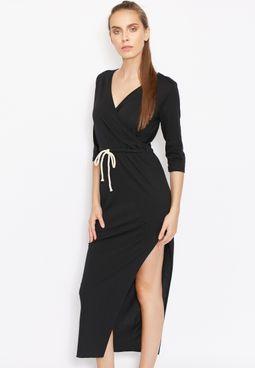Wrap Front Drawstring Slit Maxi Dress