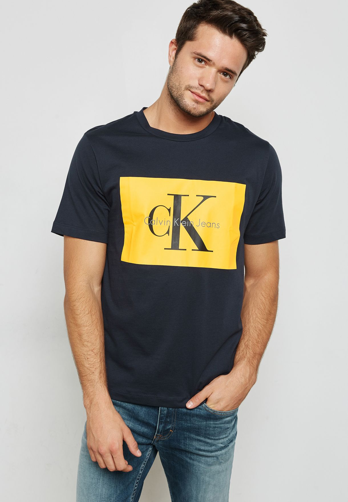 5f3bdcff33a Shop Calvin Klein Jeans navy Slim Fit Box Logo Tee J30J307427 for ...