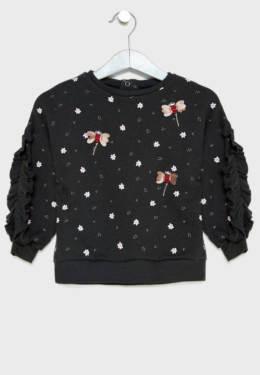 Infant Ruffle Sleeve Sweatshirt