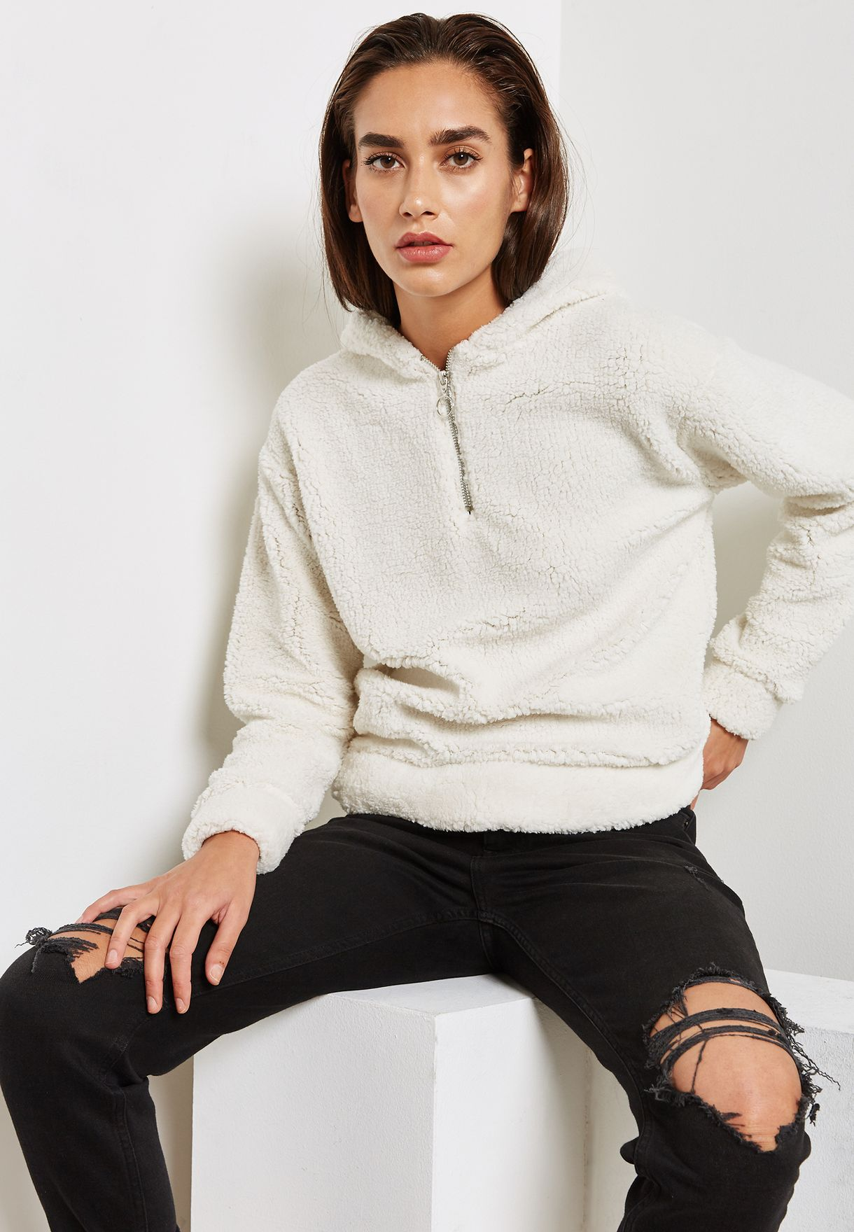 3fd253e508a Shop Topshop white Teddy Hoodie 09A30NCRM for Women in UAE ...