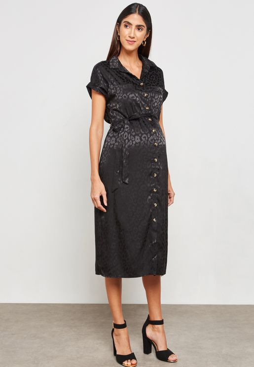 Animal Jacquard Midi Dress