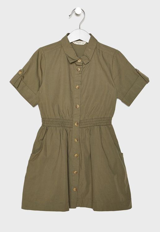 Kids Button Down Shirt Dress