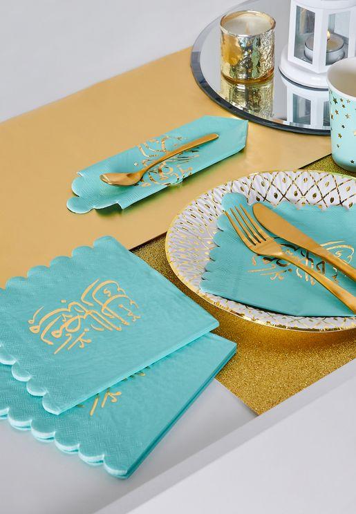 مجموعة مناديل مائدة بطبعة رمضان مبارك (عدد 16)