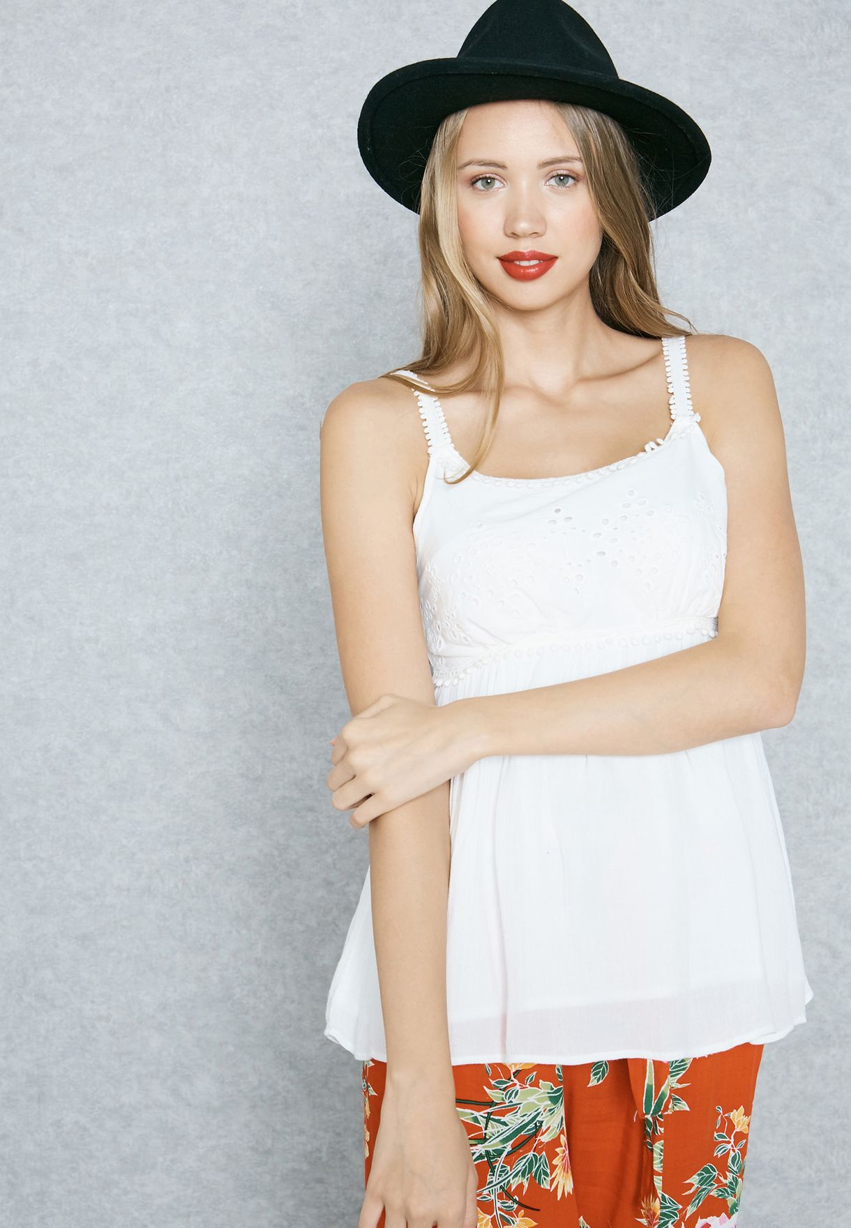 269aa859 Shop Dorothy Perkins white Lace Yoke Cami Top 67259856 for Women in ...