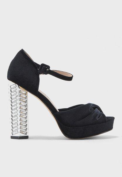 Velvet Knot High Heel Embellished Heel Sandal