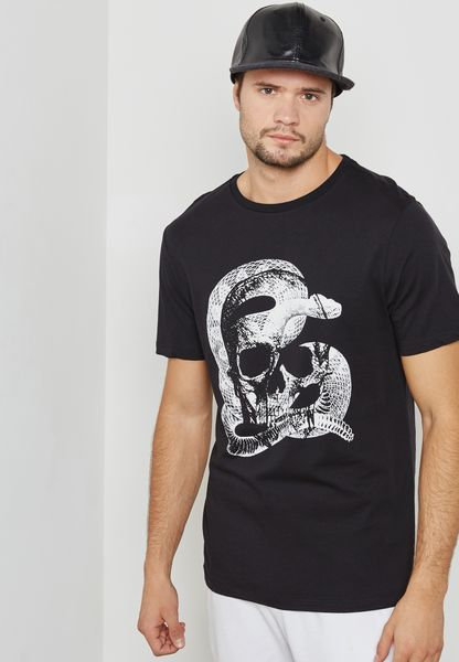 Skull And Snake Print Crew Neck T-Shirt