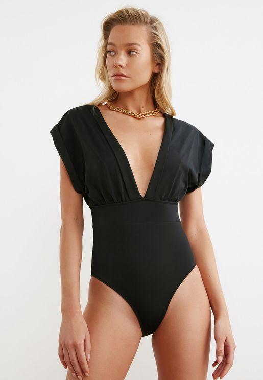 Cap Sleeve Plunge Swimsuit