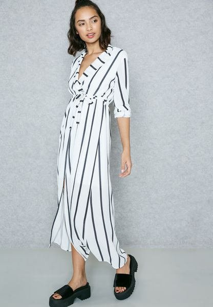Striped Wrap Front Self Tie Maxi Dress