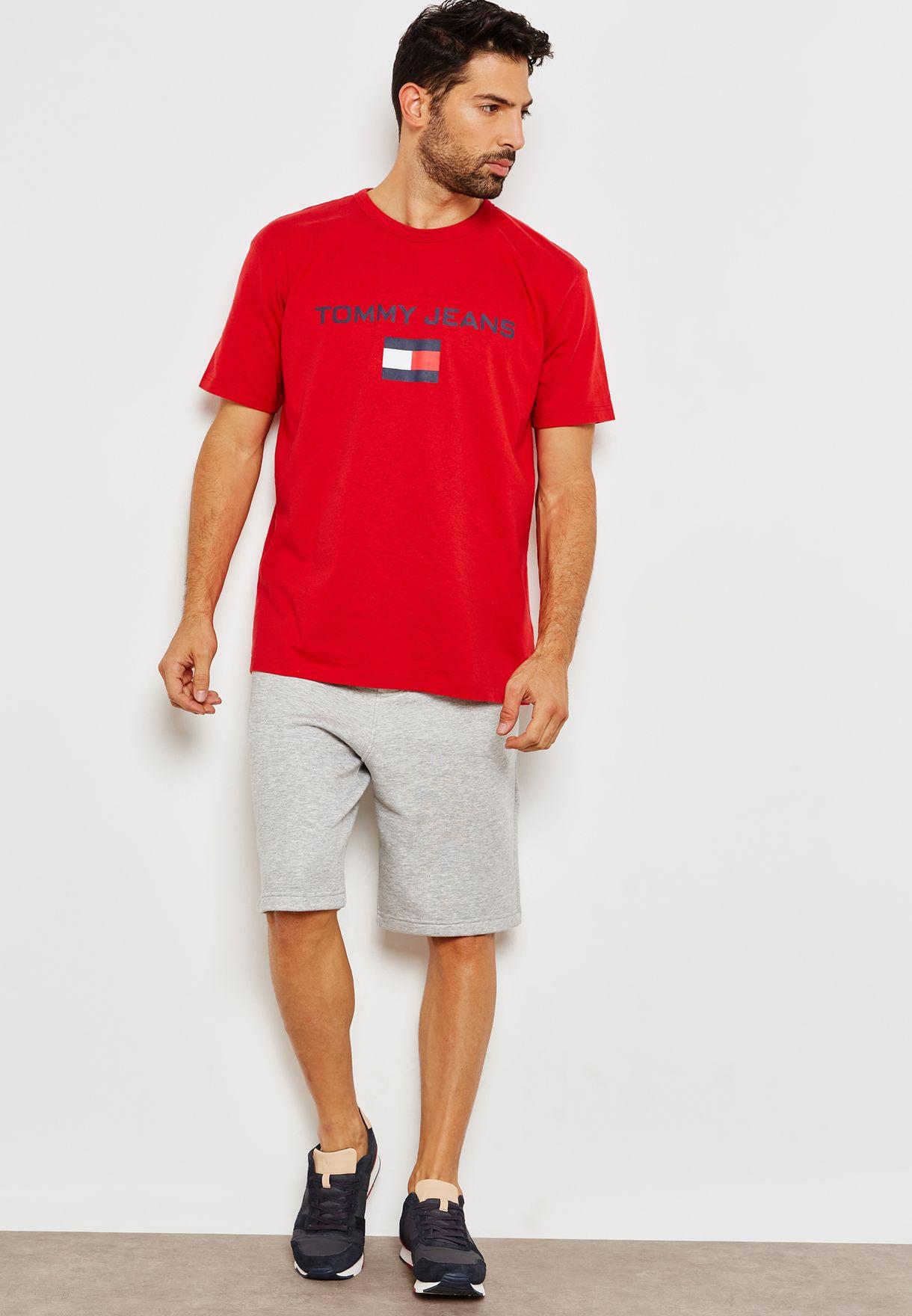 808db6bcf Shop Tommy Jeans red 90s Logo T-Shirt DM0DM05234694 for Men in Saudi ...