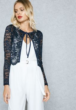 Tie Neck Lace Cover Up