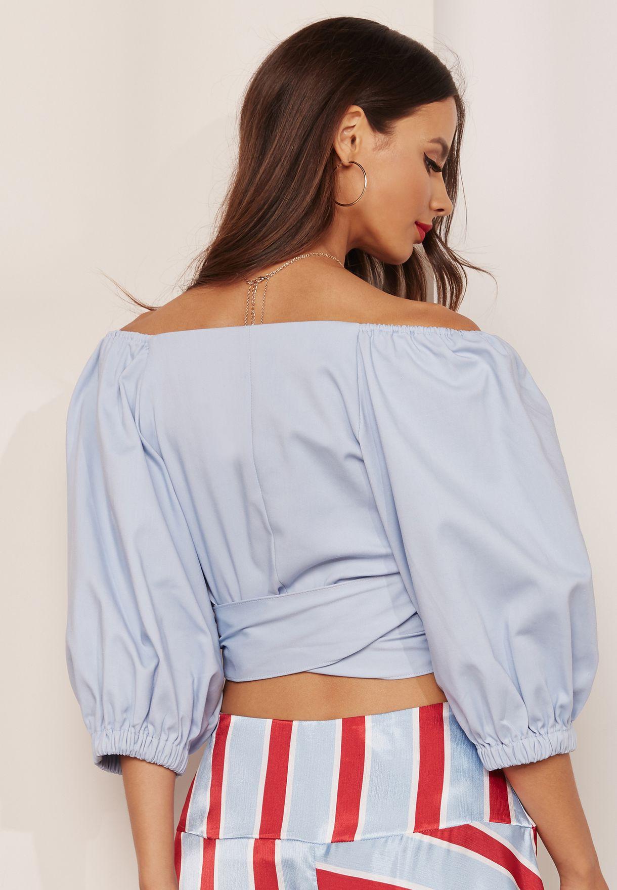 Sleeve Detail Bardot Crop Top