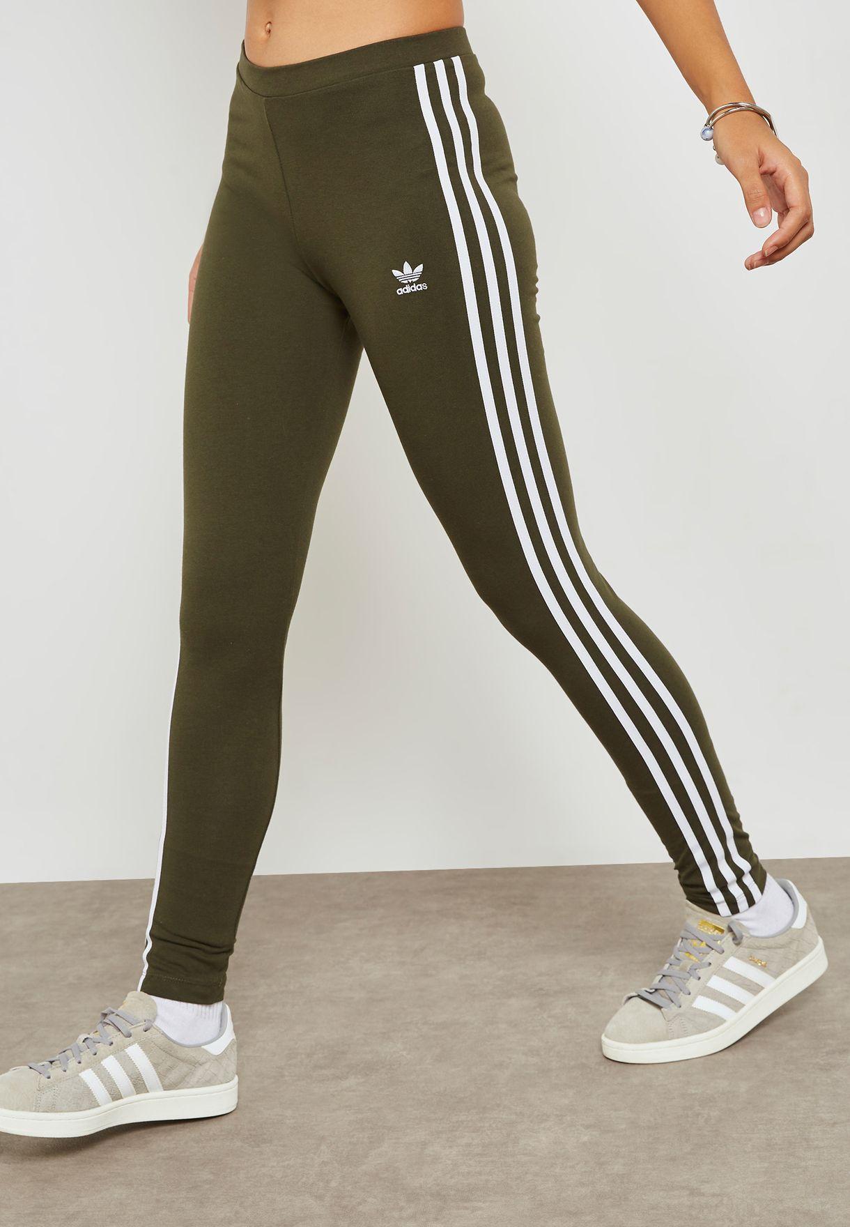 f8146aa5046 Shop adidas Originals green adicolor 3 Stripe Leggings DH3171 for ...
