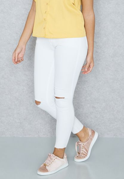Coloured Knee Slit Skinny Jeans