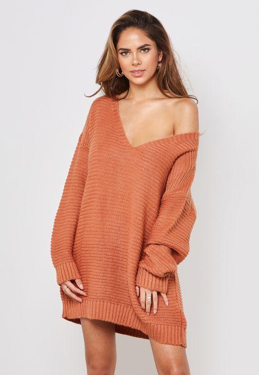 Oversized V-Neck Ribbed Sweater
