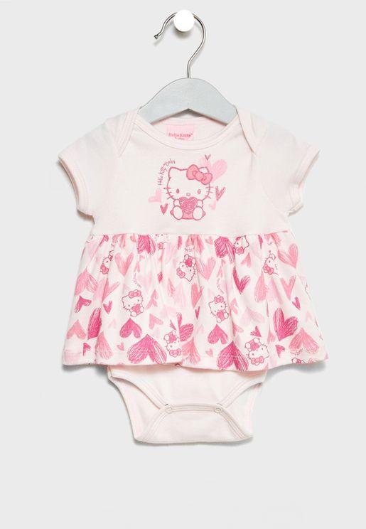 Infant Heart Print Bodysuit Dress