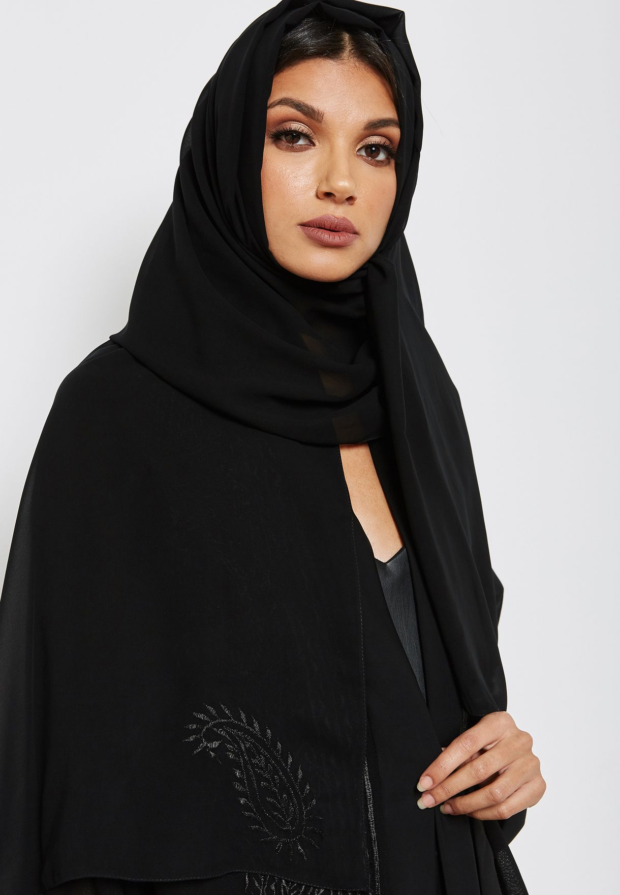 Embroidered Front Sheer Top Abaya