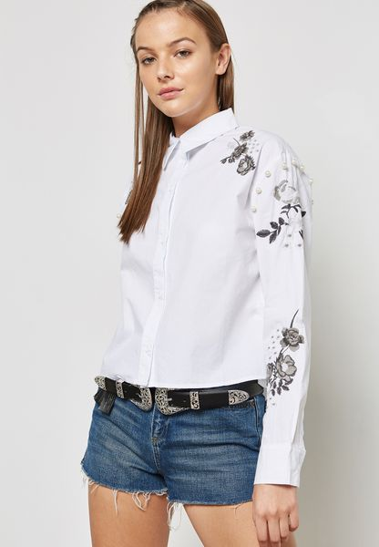 Pearl Detail Embroidered Shirt