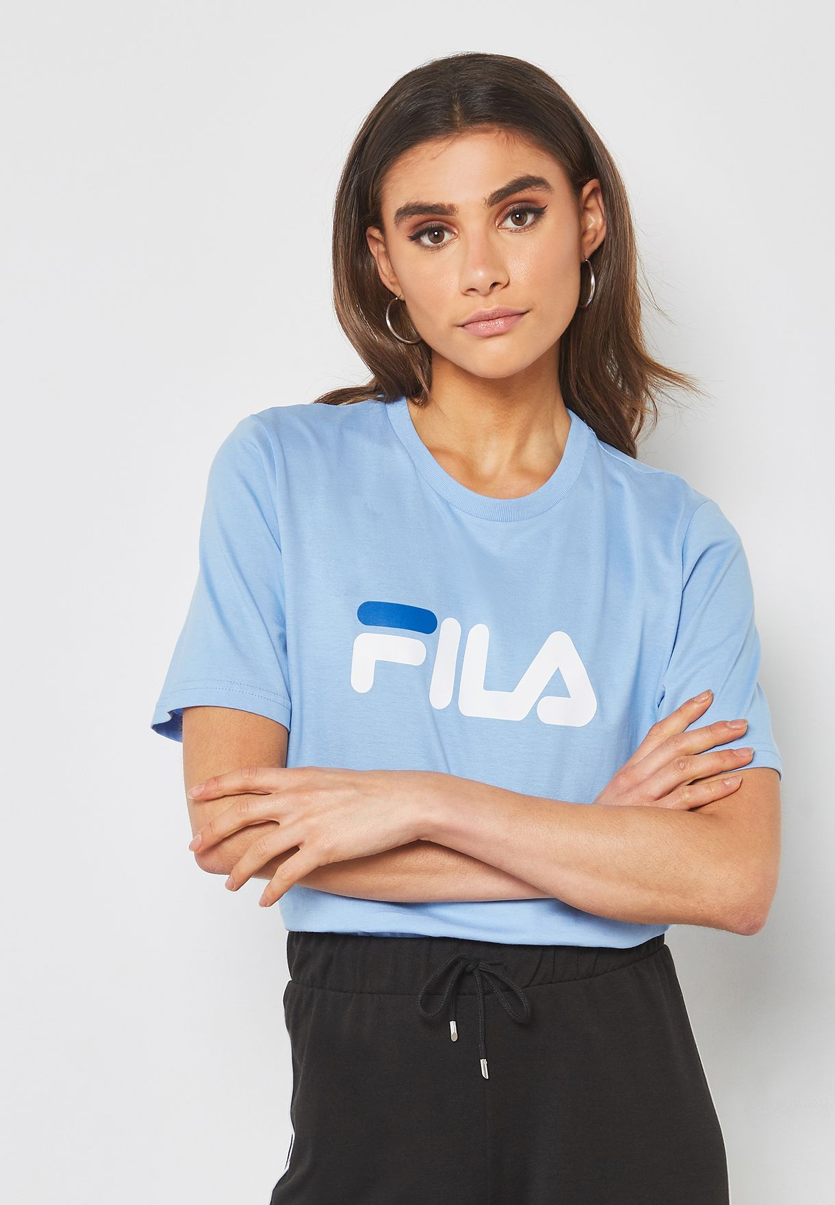 e03d18b4f Shop Fila blue Miss Eagle Cropped T-Shirt LW153PE7-442 for Women in ...
