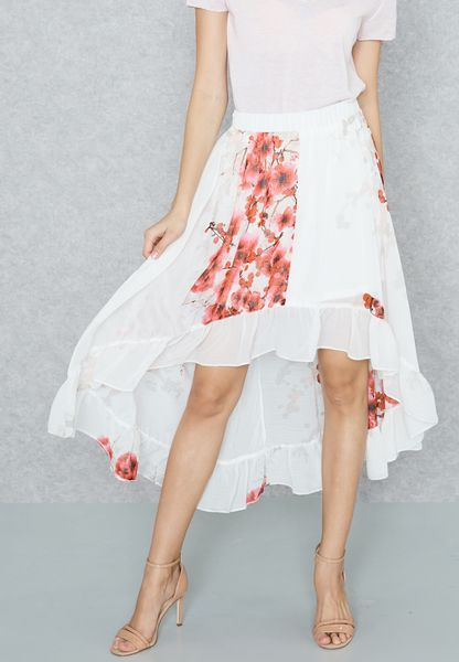 Floral Print Ruffle High Low Skirt